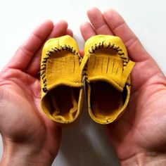 Fringed Slip-Ons    These simple yet darling moccs would look adorable on a baby girl or boy. The great thing about moccasins is that they are fairly easy to make! Honest. Just give it a try.