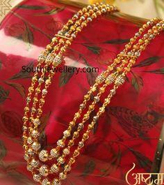 22 Carat gold three line gold balls mala by Manubhai Jewellers. Jewelry Design Earrings, Gold Jewellery Design, Gold Bangles Design, Gold Chain Design, 22 Carat Gold, Gold Jewelry Simple, Indian Jewelry, Pearl Jewelry, Wedding Jewelry
