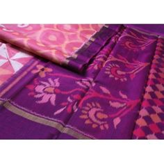 The #beauty of #chinnalapatti takes form in this rich Ikat weaving - circular motifs in the body in soft #pink, and a #lustrous #purple with pochampally floral patterns'.