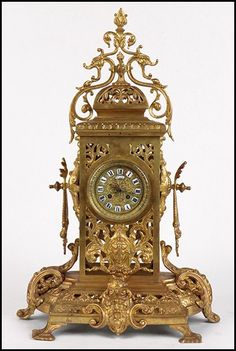 19th Century French Gilt Bronze Mantle Clock :