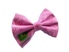 John Deere fabric hair bow  pink paisley by SassyShugaBoutique, $6.00