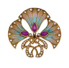 Brooch - ruby, diamond & plique-a-jour enamel set in 18ct gold.  c1895.  Sotheby's, Sydney: http://www.sothebysaustralia.com.au/lot_details.php?lot=2491=374  Jewellery, jewelry