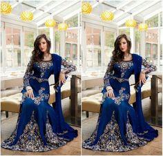 64f1dac7872bb 2016 Royal Blue Luxury Crystal Muslim Arabic Evening Dresses Applique Lace Abaya  Dubai Kaftan Long Plus Size Formal Celebrity Gowns