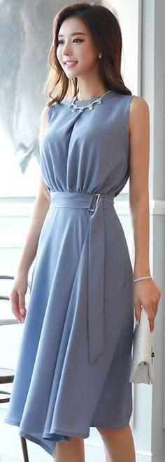StyleOnme_Belted Strap Sleeveless Flared Dress #blue #elegant #dress #koreanfashion #kstyle #kfashion #dailylook #summertrend