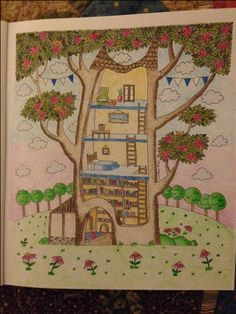 From Emila Yusof's coloring book titled Treehouse; Emila Yusof;  Treehouse coloring book; Colourart by Emila Yusof