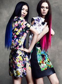 Loving the Sportmax Floral Pants and Blue Ombre Hair!   Wei & DJ by Chris Nicholls for Flare April 2012