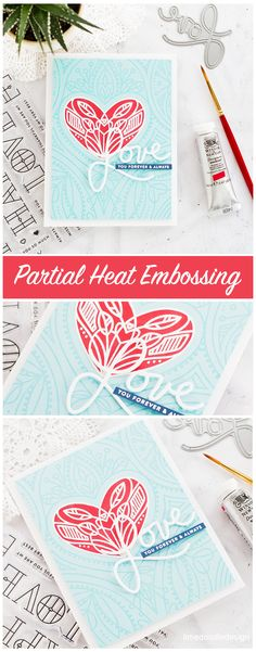 Partial heat embossing on these handmade Valentine's cards by Debby Hughes. Find out more here: http://limedoodledesign.com/2017/12/partial-heat-embossing/