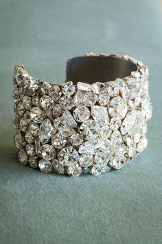 swarovski crystal cuff bracelet... Crystal Rose, Clear Crystal, Handmade Bridal Jewellery, Bridal Jewelry, Swarovski Crystals, Crystals And Gemstones, Statement Necklace Wedding, Wedding Accessories, Brass