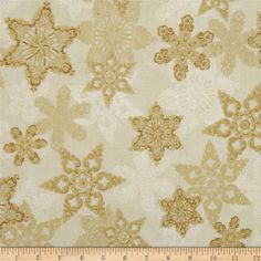 Holiday Flourish Metallic Star Antique Cream from @fabricdotcom  Designed by Peggy Toole for Robert Kaufman, this cotton print fabric is perfect for quilting, apparel and home decor accents. Colors include cream and gold. Features gold metallic accents throughout.
