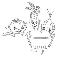 """I love vintage patterns...this one really cracks me up:""""We're happy little veggies! We can't wait to jump in the pot and be boiled and eaten!"""""""
