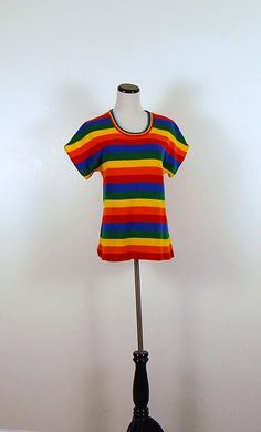 Vintage Rainbow Stripes Sweater by CheekyVintageCloset on Etsy, $14.50