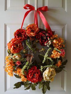 Summer Wreath, Fall Wreath, Orange Cream Red Burgundy Peony Chrysanthemum Blooms Spring Summer Fall Decor on Etsy, $120.00
