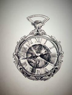 Pin by twiggie davis on ink den tattoos clock tattoo Pocket Watch Drawing, Pocket Watch Tattoo Design, Pocket Watch Tattoos, Clock Tattoo Design, Compass Tattoo Design, Clock Tattoos, Mens Compass Tattoo, Broken Clock Tattoo, Tattoo Oma