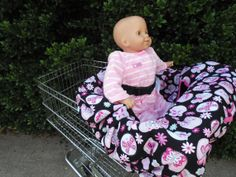 Pink butterflies on black baby shopping cart by littlestitches59, $40.00