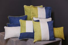 CUSHIONS-Woven Check Collection Blue/Cream/Dove Grey Woven Check  Cushion Option A:45x45cm Cover with polyester filling. €14.95 Cushion Option B:30cmx50cmCover with polyester filling. €12.95 All-over pattern on two sides with hidden zip Denim Blue with fine dove grey cross stripe on Chalk Base Machine wash 30~Cover Only Relaxing denim blue makes this soft textured woven check the perfect cushion to bring that easy summer seaside feeling to your livingroom , conservatory or cottage by the…