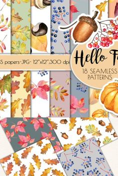 These Seamless Autumn Leaves Digital papers (18 Seamless digtal papers) will be perfect for your DIY projects, Birthday Greeting Cards, Party invitations, Scrapbooking ,Personal prints, Paper designs, web design, Albums ect. You can print this patterns on any surfaces and items - for example : pillows, magnets, textile, mugs, phone cases, t-shirts, totes, ect.