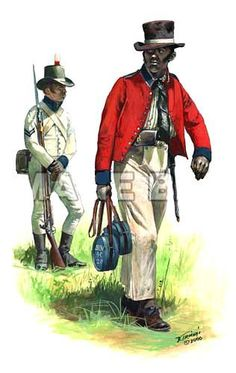 The Corps of Colonial Marines were two Marine units raised from former slaves for service in the Americas by the British government. The units were created at two different times, and were later disbanded once the military threat had disappeared. American Revolutionary War, American War, American History, British Army Uniform, British Uniforms, Navy Uniforms, Military Uniforms, Military Art, Military History