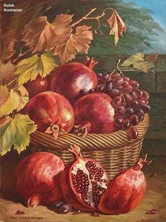 3d Painting, Pomegranates, Fruit Art, Khalid, Still Life Art, Conceptual Art, Art Oil, Beautiful Artwork, Gouache