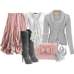 """Pink & Grey for a Cooler Day"" by stylesbyjoey on Polyvore"