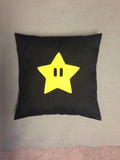 Power Star Black Super Mario Bros Retro Cushion by BeUniqueBaby