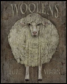 Woolens, Extra Grungy Primitive FolkArt Art Instant Art you can print or downsize for cards, tags. Great for Easter decor or any time :) Extra Primitive Kunst, Primitive Sheep, Primitive Painting, Primitive Signs, Primitive Crafts, Country Primitive, Wood Crafts, Wooly Bully, Sheep Art