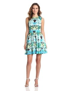 Vince Camuto Womens Sleeveless Banded Waist Spring Garlands Dress