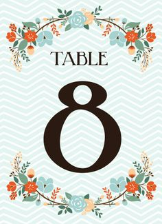 Chevron Blooms Table Numbers - Hoopla House
