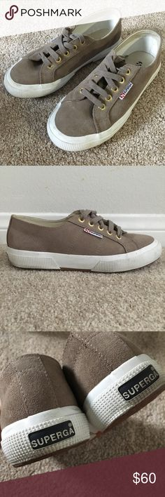 Superga 2750 Suede Sneaker Suede taupe lace up Sugerga. Super cute trendy sneakers. US women size 6 1/2 (Euro 37). Worn twice. Great condition. Superga Shoes Sneakers