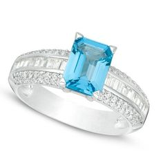 Sterling Silver x Emerald-Cut Blue Topaz and Lab-Created White Sapphire Multi-Row Ring Tasteful and refined, this gemstone ring appeals to her glamorous style. Crafted in sterling silver, this dazzling look features an x emerald-cut l Blue Topaz Ring, White Sapphire, Emerald, Gemstone Rings, Engagement Rings, Gemstones, Sterling Silver, Create, Jewelry