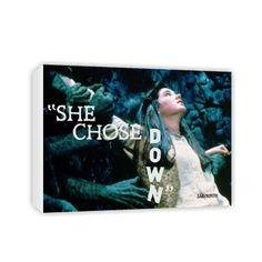 She chose down. #Sarah #Canvas #Labyrinth #Movie #Jim #Henson #David #Bowie #Gifts #Merchandise #Film 80's #Retro www.labryinthmovie.co.uk