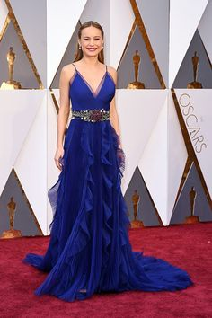88th Oscar Red Carpet Dress For Party royal blue Brie Larson Celebrity Dresses prom dresses 2016