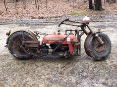 Guy Turns His Old Tractor Into A Badass Mad Max Motorcycle Mad Max Motorcycle, Motorcycle Mechanic, Steampunk Motorcycle, Steampunk Circus, Motorbike Parts, Motorcycle Museum, Bobber Custom, Custom Bikes, Vintage Motorcycles
