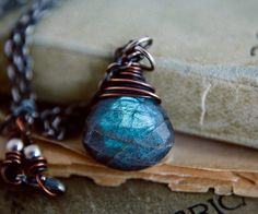 Thunder+Necklace+Gemstone+Jewelry+Labradorite+Midnight+by+PoleStar,+$58.00
