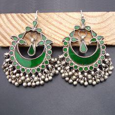 Green Glass Antique Vintage Old Silver Dangle Earrings Ethnic Tribal Earrings Boho Bohemian Earrings Silver Jewellery Indian, Golden Jewelry, Silver Jewelry, Silver Ring, Bridal Jewellery, Gold Jewellery, Vintage Jewelry, Jhumki Earrings, Tribal Earrings