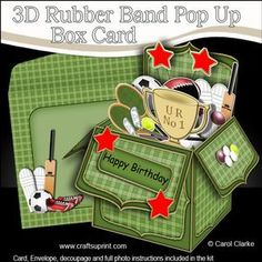 **NEW TEMPLATE** - 3D Rubber Band Pop Up Box Card Tutorial - www.craftforums.co.uk Available later today on http://www.craftsuprint.com/carol-clarke/?r=380405