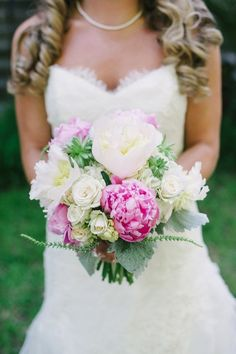 Spring wedding bouquet idea - pink + white bouquet with peonies, roses, dusty miller and other blooms {Aaron and Jillian Photography}