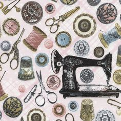 Timeless Treasures House Designer - Tres Jolie - Antique Sewing Tools in Pink