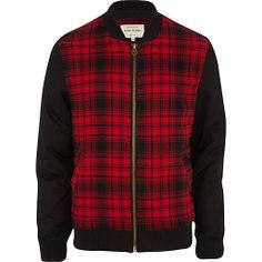 Red tartan contrast sleeve bomber jacket #riverisland #rimenswear