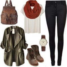black jeans, white shirt, green army jacket, red scarf and combat boots