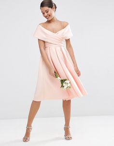 c8247827dbb91 Image 1 of ASOS WEDDING Scuba Off The Shoulder Midi Prom Dress Blush Pink  Bridesmaid Dresses