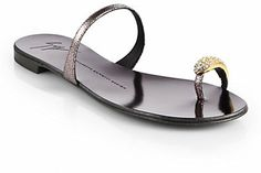 Giuseppe Zanotti Crystal Toe Ring Metallic Leather Sandals on shopstyle.com