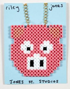 Hama Bead Pig Face Necklace