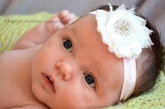 Baby Headband...Elastic Headband...Pink Headband...Shabby Rose Headband...Baby Flower Headband...Newborn Headband