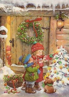 Vintage Christmas Painting ~ Lisi Martin (1944, Spanish) - Friends At Christmas