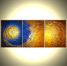 ORIGINAL Painting Contemporary Abstract Art Blue by Laffertyart, $299.00