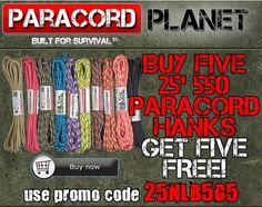 REPIN TO WIN $20 GC:  NOW until Thursday night-- go take advantage of this amazing deal!! 10 25' hanks for the price of 5, using PROMO CODE: 25NLB5G5. *Visit here to see our listing of 25' hanks:http://www.paracordplanet.com/25-Sales_c_106.html?utm_source=Paracord+Planet+Newsletter+Subscribers&utm_campaign=6db8d03d08-nl072814&utm_medium=email&utm_term=0_e3446085f2-6db8d03d08-217122765&mc_cid=6db8d03d08&mc_eid=a0f0369d1e