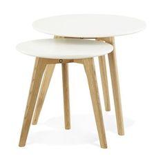 set de 2 tables basses rondes scandinaves blanches elia - Set De Table Scandinave