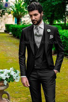 Traje de novio italiano a medida, semilevita, en tejido new performance granité gris, modelo 1047 Ottavio Nuccio Gala colección Fashion 2015.