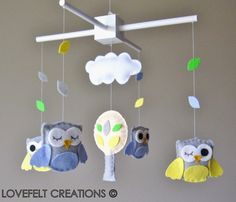 Baby Crib Mobile  Baby Mobile  Owl Mobile  Custom by LoveFeltXoXo, $95.00