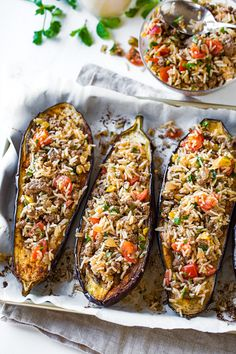 This savory stuffed eggplant with middle eastern spices and a garlic tahini sauce is a delicious and beautiful meal, one full of textures and healthy ingredients. Easy Delicious Recipes, Easy Dinner Recipes, Gourmet Recipes, Vegetarian Recipes, Easy Meals, Cooking Recipes, Yummy Food, Healthy Recipes, Healthy Eggplant Recipes